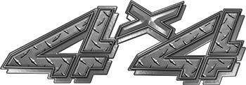 4x4 Chevy GMC Truck Style Bedside Sticker Set / Decal Kit in Diamond Plate