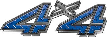 4x4 Chevy GMC Truck Style Bedside Sticker Set / Decal Kit in Blue Diamond Plate