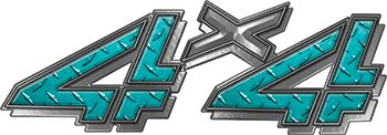 4x4 Chevy GMC Truck Style Bedside Sticker Set / Decal Kit in Teal Diamond Plate