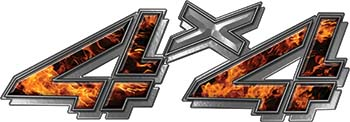 4x4 Chevy GMC Truck Style Bedside Sticker Set / Decal Kit in Inferno Flames