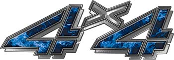 4x4 Chevy GMC Truck Style Bedside Sticker Set / Decal Kit in Blue Inferno Flames