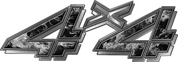 4x4 Chevy GMC Truck Style Bedside Sticker Set / Decal Kit in Gray Inferno Flames