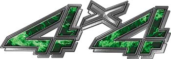 4x4 Chevy GMC Truck Style Bedside Sticker Set / Decal Kit in Green Inferno Flames