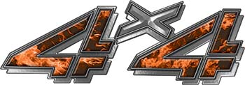 4x4 Chevy GMC Truck Style Bedside Sticker Set / Decal Kit in Orange Inferno Flames