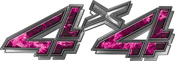 4x4 Chevy GMC Truck Style Bedside Sticker Set / Decal Kit in Pink Inferno Flames