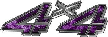 4x4 Chevy GMC Truck Style Bedside Sticker Set / Decal Kit in Purple Inferno Flames