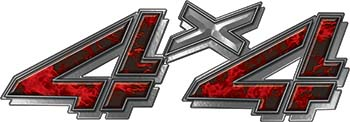 4x4 Chevy GMC Truck Style Bedside Sticker Set / Decal Kit in Red Inferno Flames