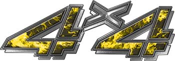 4x4 Chevy GMC Truck Style Bedside Sticker Set / Decal Kit in Yellow Inferno Flames