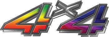 4x4 Chevy GMC Truck Style Bedside Sticker Set / Decal Kit in Rainbow Colors