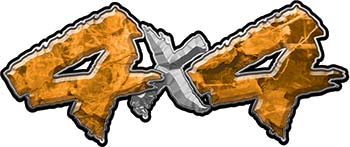4x4 Chevy GMC Ford Toyota Dodge Truck Quad or SUV Sticker Set / Decal Kit in Orange Camouflage