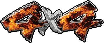 4x4 Chevy GMC Ford Toyota Dodge Truck Quad or SUV Sticker Set / Decal Kit in Inferno Flames