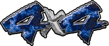 4x4 Chevy GMC Ford Toyota Dodge Truck Quad or SUV Sticker Set / Decal Kit in Blue Inferno Flames