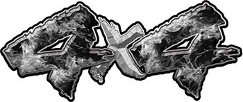 4x4 Chevy GMC Ford Toyota Dodge Truck Quad or SUV Sticker Set / Decal Kit in Gray Inferno Flames