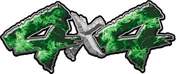 4x4 Chevy GMC Ford Toyota Dodge Truck Quad or SUV Sticker Set / Decal Kit in Green Inferno Flames