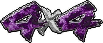 4x4 Chevy GMC Ford Toyota Dodge Truck Quad or SUV Sticker Set / Decal Kit in Purple Inferno Flames