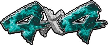 4x4 Chevy GMC Ford Toyota Dodge Truck Quad or SUV Sticker Set / Decal Kit in Teal Inferno Flames