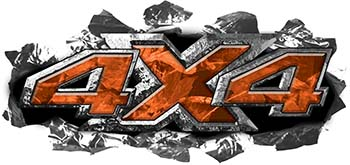 Ripped Torn Metal Tear 4x4 Chevy GMC Ford Toyota Dodge Truck Quad or SUV Sticker Set / Decal Kit in Orange Camouflage