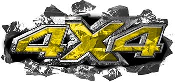 Ripped Torn Metal Tear 4x4 Chevy GMC Ford Toyota Dodge Truck Quad or SUV Sticker Set / Decal Kit in Yellow Camouflage