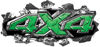 Ripped Torn Metal Tear 4x4 Chevy GMC Ford Toyota Dodge Truck Quad or SUV Sticker Set / Decal Kit in Green Diamond Plate