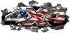 Ripped Torn Metal Tear 4x4 Chevy GMC Ford Toyota Dodge Truck Quad or SUV Sticker Set / Decal Kit with American Flag