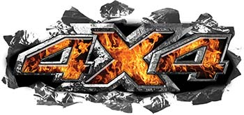 Ripped Torn Metal Tear 4x4 Chevy GMC Ford Toyota Dodge Truck Quad or SUV Sticker Set / Decal Kit in Inferno Flames