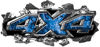 Ripped Torn Metal Tear 4x4 Chevy GMC Ford Toyota Dodge Truck Quad or SUV Sticker Set / Decal Kit in Blue Inferno Flames