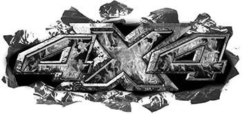 Ripped Torn Metal Tear 4x4 Chevy GMC Ford Toyota Dodge Truck Quad or SUV Sticker Set / Decal Kit in Gray Inferno Flames
