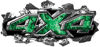 Ripped Torn Metal Tear 4x4 Chevy GMC Ford Toyota Dodge Truck Quad or SUV Sticker Set / Decal Kit in Green Inferno Flames