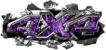 Ripped Torn Metal Tear 4x4 Chevy GMC Ford Toyota Dodge Truck Quad or SUV Sticker Set / Decal Kit in Purple Inferno Flames