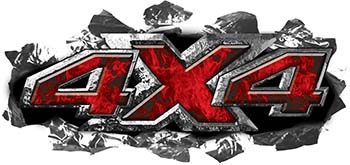 Ripped Torn Metal Tear 4x4 Chevy GMC Ford Toyota Dodge Truck Quad or SUV Sticker Set / Decal Kit in Red Inferno Flames