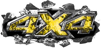 Ripped Torn Metal Tear 4x4 Chevy GMC Ford Toyota Dodge Truck Quad or SUV Sticker Set / Decal Kit in Yellow Inferno Flames