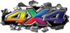 Ripped Torn Metal Tear 4x4 Chevy GMC Ford Toyota Dodge Truck Quad or SUV Sticker Set / Decal Kit in Rainbow Colors