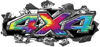 Ripped Torn Metal Tear 4x4 Chevy GMC Ford Toyota Dodge Truck Quad or SUV Sticker Set / Decal Kit in Tie Dye Colors