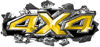 Ripped Torn Metal Tear 4x4 Chevy GMC Ford Toyota Dodge Truck Quad or SUV Sticker Set / Decal Kit in Yellow