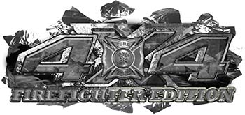 4x4 Firefighter Edition Ripped Torn Metal Tear Truck Quad or SUV Sticker Set / Decal Kit in Gray Camouflage