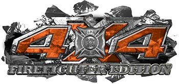 4x4 Firefighter Edition Ripped Torn Metal Tear Truck Quad or SUV Sticker Set / Decal Kit in Orange Camouflage