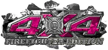 4x4 Firefighter Edition Ripped Torn Metal Tear Truck Quad or SUV Sticker Set / Decal Kit in Pink Camouflage