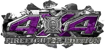 4x4 Firefighter Edition Ripped Torn Metal Tear Truck Quad or SUV Sticker Set / Decal Kit in Purple Camouflage