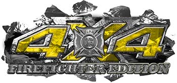 4x4 Firefighter Edition Ripped Torn Metal Tear Truck Quad or SUV Sticker Set / Decal Kit in Yellow Camouflage