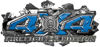 4x4 Firefighter Edition Ripped Torn Metal Tear Truck Quad or SUV Sticker Set / Decal Kit in Blue Diamond Plate