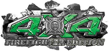 4x4 Firefighter Edition Ripped Torn Metal Tear Truck Quad or SUV Sticker Set / Decal Kit in Green Diamond Plate
