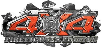 4x4 Firefighter Edition Ripped Torn Metal Tear Truck Quad or SUV Sticker Set / Decal Kit in Orange Diamond Plate