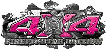 4x4 Firefighter Edition Ripped Torn Metal Tear Truck Quad or SUV Sticker Set / Decal Kit in Pink Diamond Plate