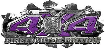 4x4 Firefighter Edition Ripped Torn Metal Tear Truck Quad or SUV Sticker Set / Decal Kit in Purple Diamond Plate
