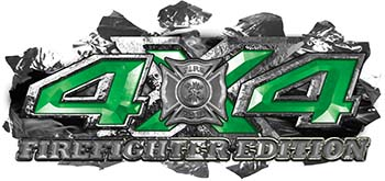 4x4 Firefighter Edition Ripped Torn Metal Tear Truck Quad or SUV Sticker Set / Decal Kit in Green