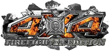 4x4 Firefighter Edition Ripped Torn Metal Tear Truck Quad or SUV Sticker Set / Decal Kit in Inferno Flames