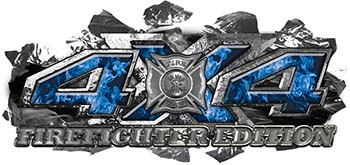 4x4 Firefighter Edition Ripped Torn Metal Tear Truck Quad or SUV Sticker Set / Decal Kit in Blue Inferno Flames