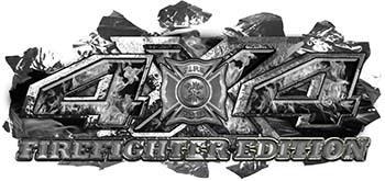 4x4 Firefighter Edition Ripped Torn Metal Tear Truck Quad or SUV Sticker Set / Decal Kit in Gray Inferno Flames