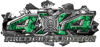 4x4 Firefighter Edition Ripped Torn Metal Tear Truck Quad or SUV Sticker Set / Decal Kit in Green Inferno Flames