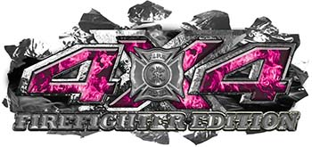 4x4 Firefighter Edition Ripped Torn Metal Tear Truck Quad or SUV Sticker Set / Decal Kit in Pink Inferno Flames